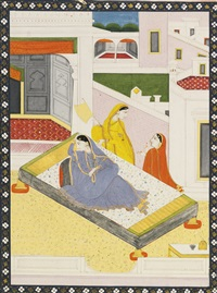 an illustration to a rasikapriya series: a nayika pines for her absent love by anonymous-indian (19)