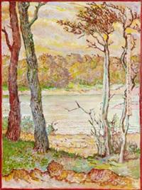 landskap med vattendrag by ludomir slendzinski