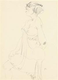 stehender weiblicher akt in durchsichtigem unterkleid von links by jeanne mammen