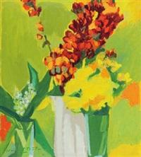 stillleben mit goldlack, glockenblumen und maiglöckchen by heinrich müller