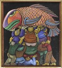 menschenpyramide einen großen fisch empor haltend by peter (victor petrovitch) reikhet