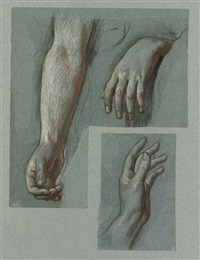 hands (study) (+ another; 2 works mounted together) by alexandre-jean-baptiste hesse