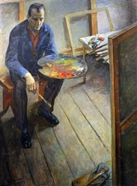 self-portrait in the studio by vladimir andreevich mineyko