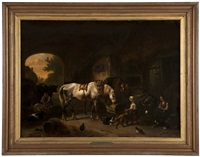 dutch barn interior with figures and animals by wouter verschuur the elder