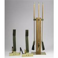 fire tool set (set of 3) (+ andirons (pair); 5 works) by alessandro albrizzi