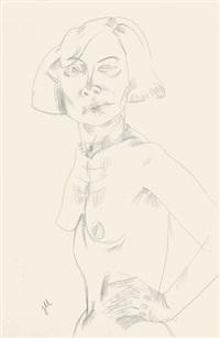 stehender weiblicher halbakt mit perlenkette, linke hand in hüfte gestützt, von links by jeanne mammen