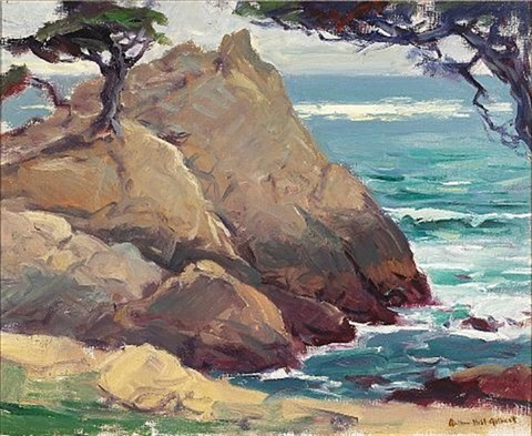 cypress on a rocky bluff by arthur hill gilbert