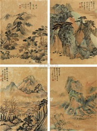 春夏秋冬 (landscape of four seasons) (in 4 parts) by fan haolin, yu jieyun, zheng wuchang, and xu beiting