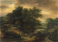 wooded landscape with figural staffage by guillam dubois