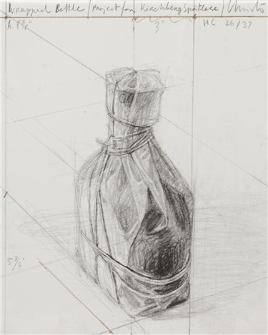 wrapped bottle project by christo and jeanne claude