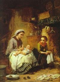 kokkeninterior med moder, pige og spædbarn by charles auguste romain lobbedez