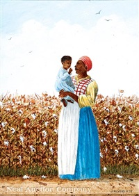 mother and child in the cotton fields by jack meyers