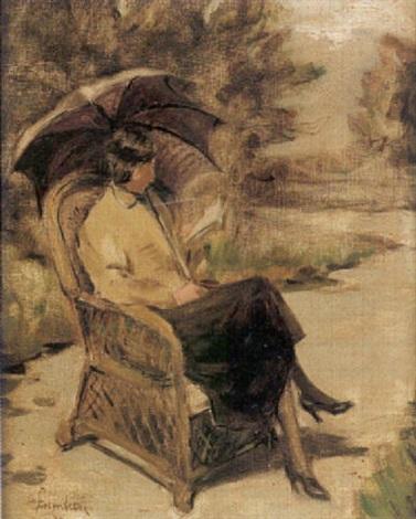 parkmotiv med läsande kvinna i korgstol by akke kumlien