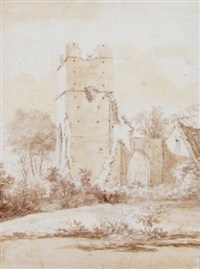 drawing of buchamwell church by hendrik frans de cort