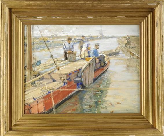 familie auf ihrem kutter auf einem delfter kanal by hans herrmann