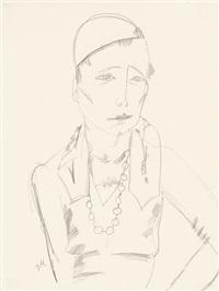 brustbild einer frau mit kappe und langer halskette by jeanne mammen