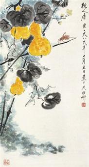 葫芦草虫 立轴 纸本 by tang yun