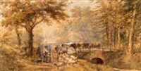 farmer and cattle with sheep and dog by gate by henry (sr.) earp