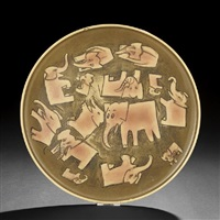 plate decorated with elephants by paul ninas