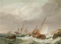 schiffe in seenot vor der küste by johannes hermanus koekkoek