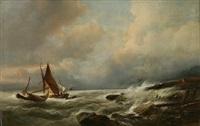 paysage côtier avec voiliers sur une mer houleuse by jacob jacobs