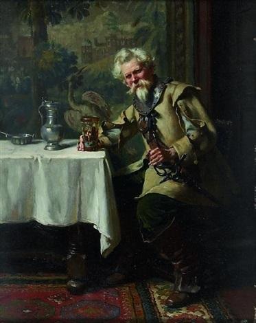 interieur mit zechendem musketier by albert friedrich schrder