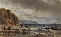 meeresküste mit heimkehrenden fischern und booten by adolf stademann