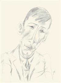 brustbild eines mannes mit schmalem gesicht von vorn by jeanne mammen
