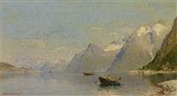 fjordlandschaft mit booten an einem sommertag by georg anton rasmussen