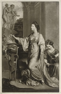 lady sarah bunbury, (sacrificing to the graces) by edward fisher