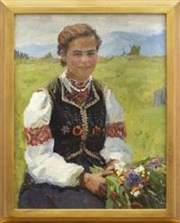 kvinna i landskap by i.i. loboda