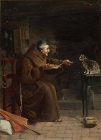 kapuziner ein kätzchen fütternd by adolfo bacci