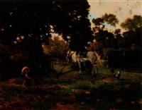 two children, horse, and rooster in barnyard by marie berthe fleury