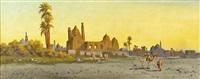 konvolut von vier orientalischen ansichten versch. ruinen u. bauwerke, 'tempel von baalbek', 'paramiden von gizeh', 'am nil' u.a. (4 works) by anton purigini