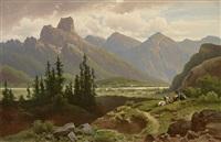alpenlandschaft mit prachtvollem massiv, flusslauf und schäfer mit seiner herde by anton pick