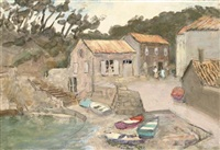dwellings beside a little harbour (+ 7other; 8 works) by alan stenhouse gourley