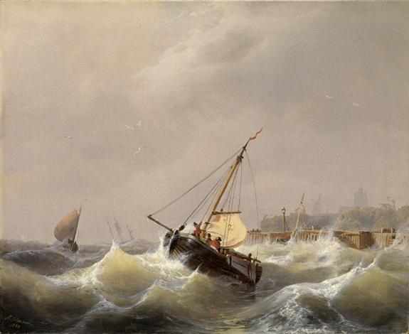 fischerboote in bewegter see mit ausblick auf eine stadt und windmühle by andreas achenbach