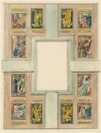 preliminary sketches for the reredos of the sanctuary of st. peter's catholic church, kansas city, missouri (set of 8, some smllr) by e.charlton fortune