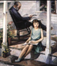 girl with grandpa on the front porch by russell taber hyde