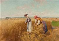 bauern bei der getreideernte by bela kodat