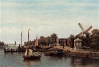 a view of the river amstel by johannes jacobus antonius hilverdink