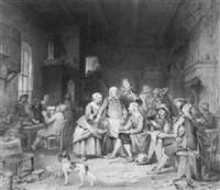 adriaen brouwer sketching in an ale house by willem pieter hoevenaar