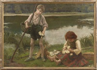 les nypmhaes: children gathering water lillies by paul emmanuel legrand