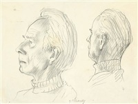 portrait of a man, two views by gerhard marcks