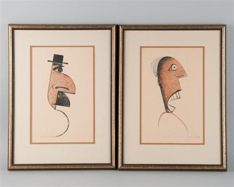 caricature silhouettes of gentlemen 2 works by charles smith