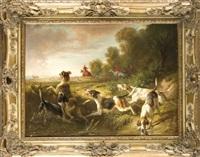 hirschjagdszene, von jägern zu pferde und einer hundemeute verfolgter hirsch by benno raffael adam