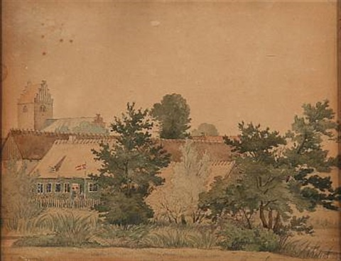 view from haraldsted vicarage by peter johann p raadsig
