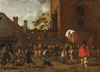 a market scene in front of a town gate by sybrand van beest