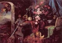 paladsinterior med buket af lyserode roser, frugter, chiantiflaske, mandolin samt spillekort på et bord by carl h. fischer