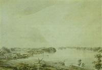 landskab med bygninger ved en sobred by jonas carl linnerhielm